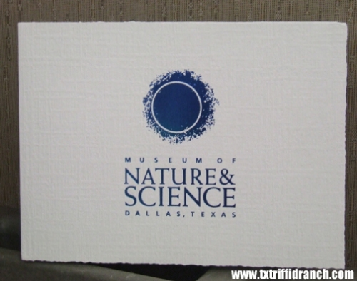 Card from the Museum of Nature & Science